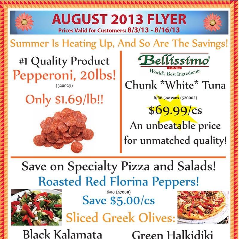 August 2013 Promotions Flyer