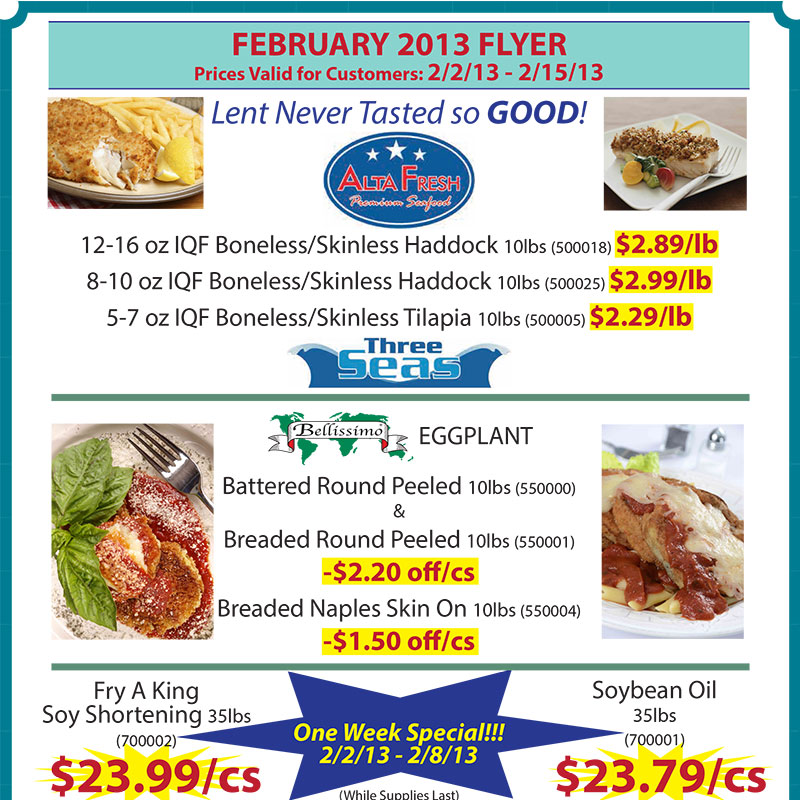 February 2013 Promotions Flyer