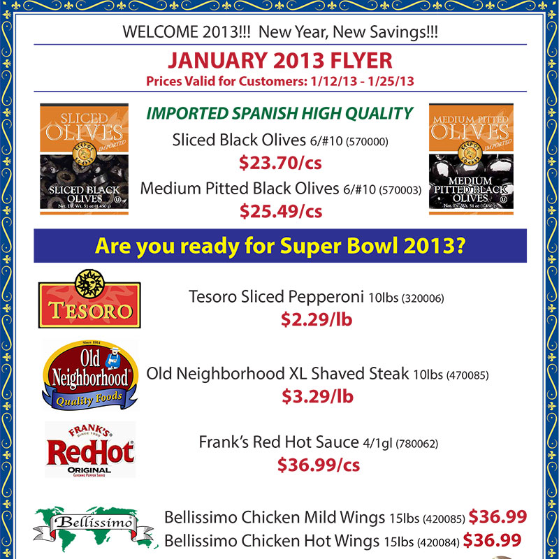 January 2013 Promotions Flyer