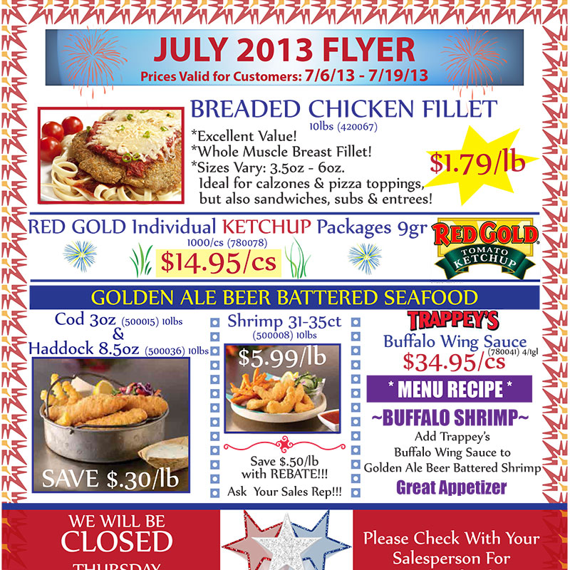 July 2013 Promotions Flyer