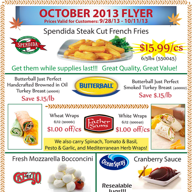 October 2013 Promotions Flyer
