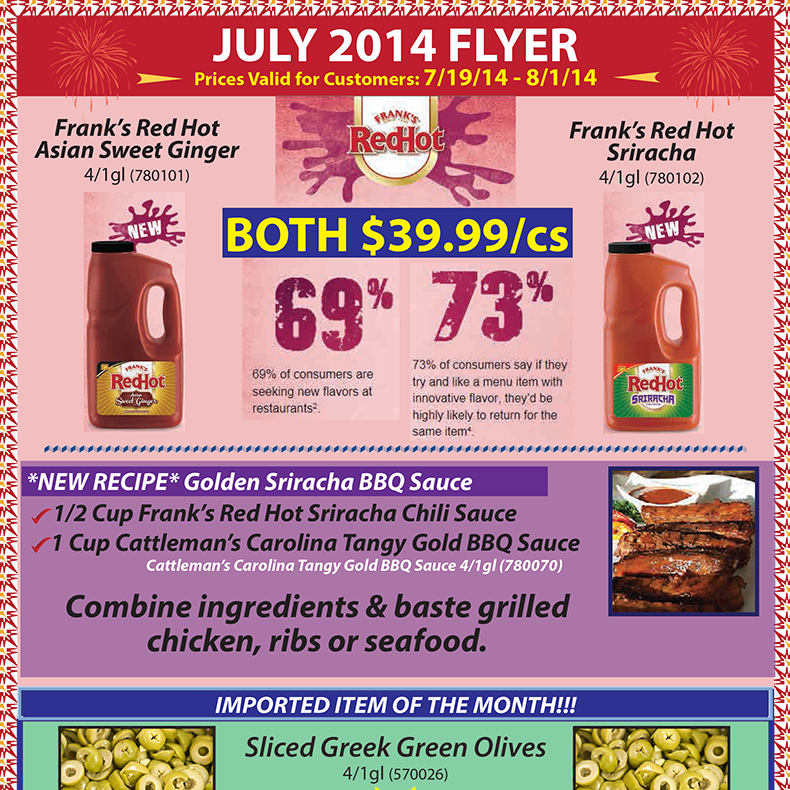 July 2014 Promotions Flyer