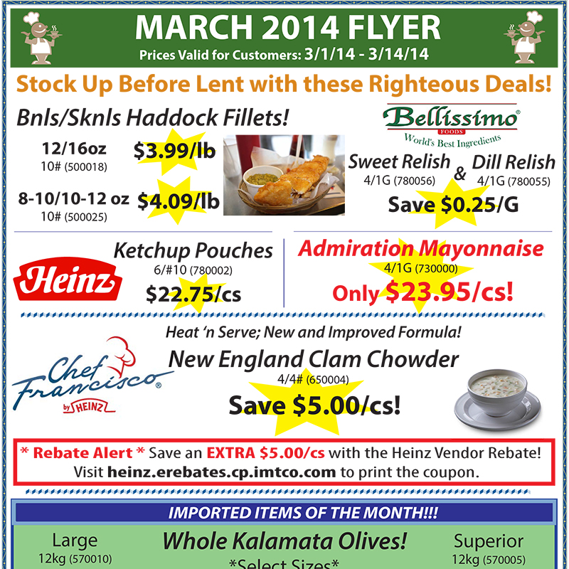March 2014 Promotions Flyer