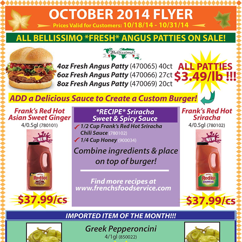 October 2014 Promotions Flyer